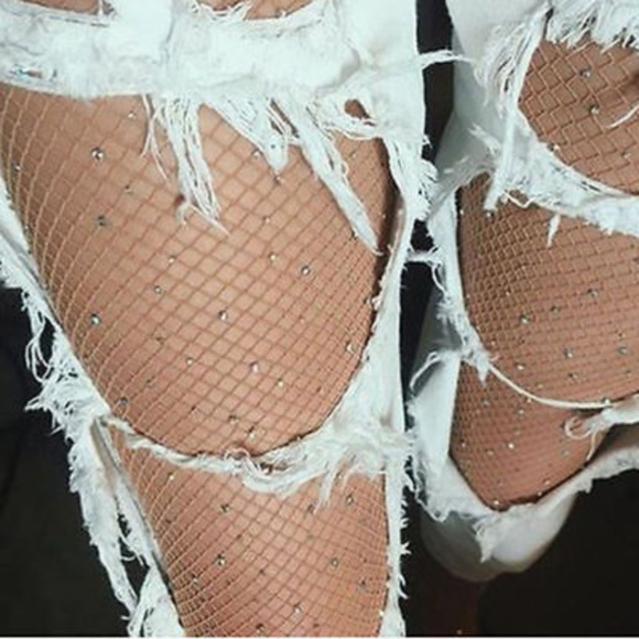 5efe12dea4d LAST ONE BEIGE Crystal Fishnet Stockings Colorful
